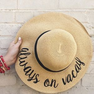 Floppy Embroidered Straw Sun Hat (Always on Vacay)